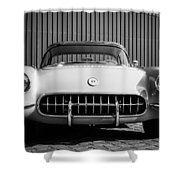 1957 Chevrolet Corvette -0010bw Shower Curtain