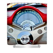 1957 Chevrolet Corvette Convertible Steering Wheel Shower Curtain by Jill Reger