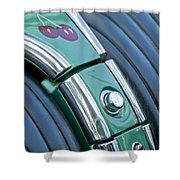 1957 Chevrolet Corvette Glove Box Shower Curtain by Jill Reger
