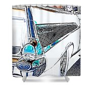 1957 Chevrolet Bel Air Art White Shower Curtain