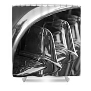 1957 Corvette Grille Black And White Shower Curtain by Jill Reger