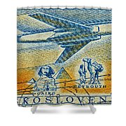1957 Czechoslovakia Airline Stamp Shower Curtain