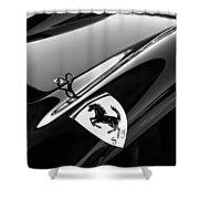 1957 Ferrari Tr 250 - 0714 Emblem -0379bw Shower Curtain