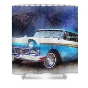 1957 Ford Classic Car Photo Art 02 Shower Curtain