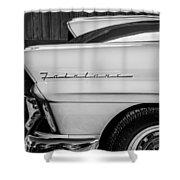 1957 Ford Fairlane Emblem -359bw Shower Curtain