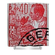 1957 German Democratic Republic Chemist Stamp Shower Curtain