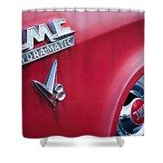 1957 Gmc V8 Pickup Truck Gmc Hydra-matic Emblem Shower Curtain