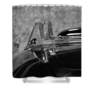 1957 Lincoln Capri Hood Ornament Shower Curtain