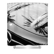 1957 Mercedes-benz 300sl Grille Emblem -0167bw Shower Curtain