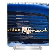 1957 Studebaker Golden Hawk Supercharged Sports Coupe Emblem Shower Curtain