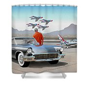 1957 Thunderbird  With F-84 Gunmetal Vintage Ford Classic Art Sketch Rendering           Shower Curtain