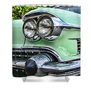 1958 Cadillac Headlights Shower Curtain