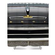 1958 Desoto Firesweep Convertible Hood Ornament Shower Curtain