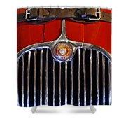 1958 Jaguar Xk150 Roadster Grille Emblem Shower Curtain by Jill Reger