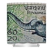 1958 Laos Elephant Stamp II Shower Curtain
