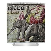 1958 Laos Elephant Stamp IIi Shower Curtain