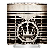 1958 Maserati Hood - Grille Emblem Shower Curtain