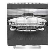 1958 Oldsmobile Rocket 88 Head On Shower Curtain