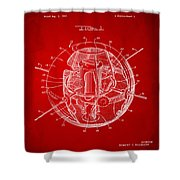 1958 Space Satellite Structure Patent Red Shower Curtain
