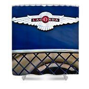1959 Aston Martin Jaguar C-type Roadster Hood Emblem Shower Curtain by Jill Reger