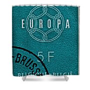 1959 Belgium Stamp - Brussels Cancelled Shower Curtain