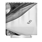 1959 Ferrari 250 Gt Emblem -0010bw Shower Curtain