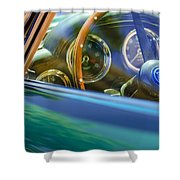 1960 Aston Martin Db4 Series II Steering Wheel Shower Curtain