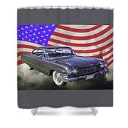 1960 Cadillac Luxury Car And American Flag Shower Curtain