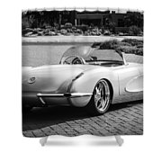 1960 Chevrolet Corvette -0880bw Shower Curtain