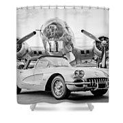 1960 Chevrolet Corvette - B-17 Bomber Shower Curtain