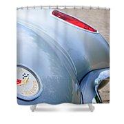 1960 Chevrolet Corvette Emblem - Taillight Shower Curtain by Jill Reger