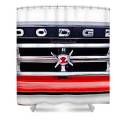 1960 Dodge Truck Grille Emblem Shower Curtain by Jill Reger