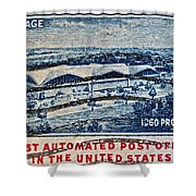 1960 First Automated Post Office Stamp Providence Rhode Island Shower Curtain