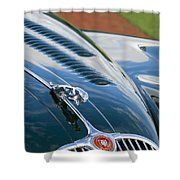 1960 Jaguar Xk 150s Fhc Hood Ornament 3 Shower Curtain