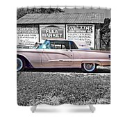 1960 Thunderbird Bw Shower Curtain