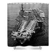 1960s Aerial Of Uss Saratoga Aircraft Shower Curtain