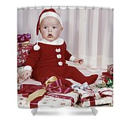 1960s Amazed Baby In Santa Suit Sitting Shower Curtain
