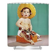 1960s Baby Wearing Cowboy Hat Shower Curtain