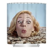 1960s Blond Woman Funny Facial Shower Curtain