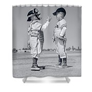 1960s Boy Little Leaguer Pitcher Shower Curtain