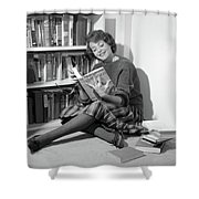 1960s Smiling Young Woman Teen Sitting Shower Curtain