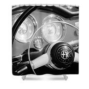 1961 Alfa Romeo Giulietta Spider Steering Wheel Emblem -1239bw Shower Curtain