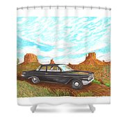 1961 Chevrolet Biscayne 409 In Monument Valley Shower Curtain