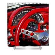 1961 Chevrolet Corvette Steering Wheel 2 Shower Curtain