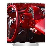 1961 Chevrolet Corvette Steering Wheel Shower Curtain