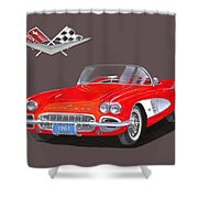 1961 Corvette Convertible Shower Curtain