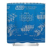 1961 Lego Building Blocks Patent Art 2 Shower Curtain