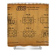 1961 Lego Building Blocks Patent Art 6 Shower Curtain