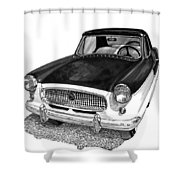 1961 Nash Metro In Black White Shower Curtain