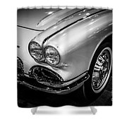1962 Chevrolet Corvette Black And White Picture Shower Curtain